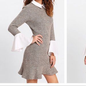 Tweed dress with bell sleeves and collar
